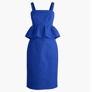J. Crew Blue Peplum Dress Classic Faille 10P